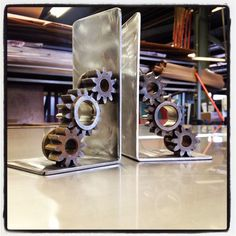 Gear Bookends by ScrapIronDesigns on Etsy, $50.00