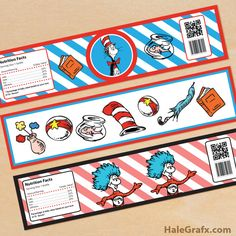 Click here to download FREE Printable Dr. Seuss Cat in the Hat Water Bottle Labels!