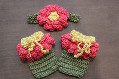 Handmade Crochet Baby Girl Leg Warmers and Headband Set Newborn Photography Photo Prop Flower Zinnia - Made To Order via Etsy