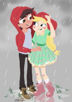 Because of the rain - Star and Marco by Avril-Circus