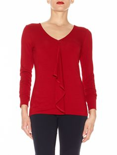 """Diaphanous Cascade Blouse In Viscose Jersey. V-neck, full length sleeves, all-over topstitching. Unlined, 27"""". Turn garment inside out to machine wash with like colors, gentle cycle, mild detergent, cold water, line dry or dry clean. Imported. 95% VISCOSE, 5% SPANDEX  Price: $160.00    Doncaster.com-W225BL26SCA-133"""