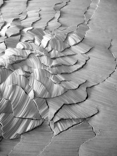 textile landscapes; linen fabric manipulation by Simone Pheulpin