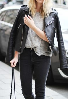 Mija Is Wearing A Leather Jacket From Mango And Skin 5 Jeans And T-Shirt From Acne Studios
