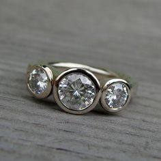 Moissanite and Recycled 14k White Gold Three-Stone Wedding or Engagement Ring, Made To Order on Etsy, $1,668.00