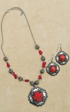 Red and Silver Inlaid Stone Cross Necklace and Earring Set