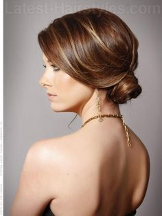 2013 Hair Trends Sophisticated Low Bun Highlighted Hair
