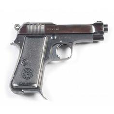 Beretta M1934 pistol    Manufactured by Fabbrica d'Armi Pietro Beretta c.1942 in Brescia, Italy - serial number F27642.  9×17mm Corto 7-round detachable box magazine, blowback semi-automatic, pretty little holster for the pretty little gun.