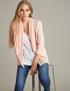 https://www.cityblis.com/6074/item/5645 | Double Shawl Cardigan - $195 by LABEL+thread | Cotton cardigan features two layers of a mesh stitch at the shawl neck, with side slits and pink bartacks at the sides. Long sleeves. Hits at hip.  100% Cotton Hand wash or dry clean.  Color: Blush  Visit www.labelandthread.com to order. | #Sweaters