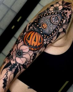 """Inked Magazine on Instagram: """"It's officially 🎃 spooky season 🎃 All tattoos by the king of Halloween, @angeloparente!  Tap the link in bio for more Halloween ink"""" B Tattoo, Tiger Tattoo, Inked Magazine, Tattoo Machine, All Tattoos, Nail Arts, Beautiful Tattoos, Trick Or Treat, Tattoo Designs"""