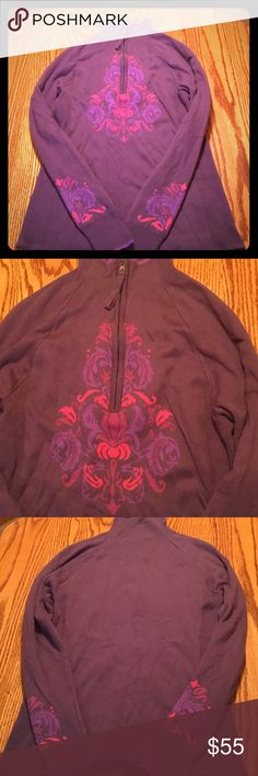 Athleta 1/2 zip sweater Purple and pink Athleta sweater.  Great for skiing over base layer.  60% cotton and 40% polyester.  Great condition. Athleta Sweaters