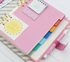TEXTURED LEATHER PERSONAL PLANNER: PINK