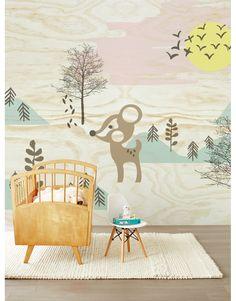 Eijffinger Tapetenwandbild 'Reh im Wald' softmint/rosa 372x280cm - im Fantasyroom Shop online bestellen oder im Ladengeschäft in Lörrach kaufen. Besuchen Sie uns!