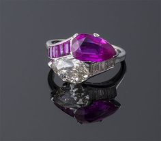 Pear Shape Ruby and Diamond By-Pass Ring ~ M.S. Rau Antiques