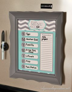 Dry erase menu planner in thrifted frame --- plus links to six FREE printable meal planner templates