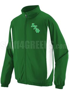 Kelly green and white Delta Sigma Phi track jacket with logo letters on the left breast.