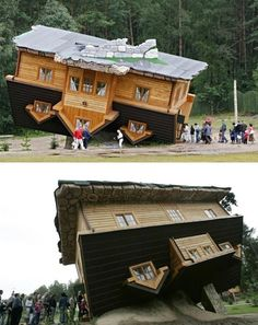 Upside Down Polish Cabin by Daniel Chapevski- these photos have not been photoshopped. This upside down house really does exist, in Szymbark, Poland