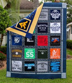 I knew I wanted to make my son a t-shirt quilt, so I saved some of his t-shirts over the years. When I started laying them out, I realized I had more than I needed.  I also realized that I had seve…