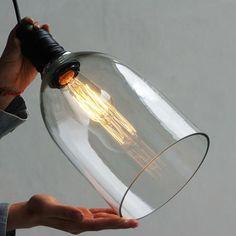 Retro Vintage Industrial Ceiling Lamp Light Glass Shade Pendant E27 Edison Bulb