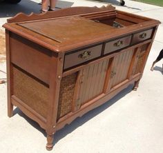 new life to an old record player stereo cabinet, painted furniture, repurposing upcycling Vintage Record Player Cabinet, Vintage Stereo Cabinet, Record Player Console, Old Record Player, Record Cabinet, Console Cabinet, Vintage Records, Record Players, Repurposed Furniture