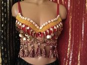 Belly Dance Costume Red Tribal Bra Top with Cowrie Shells, Coins and Fringe