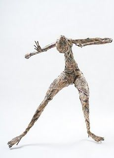 Human Body in Motion, is a sculpture from newspaper by sevilyadesign - could get students to make rough newspaper forms as gesture drawings with students taking turns to hold poses