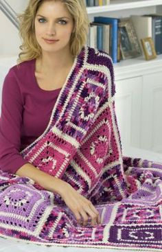 Passionate About Purple Crochet Throw Free Crochet Pattern from Red Heart Yarns