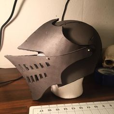 Been busy lately so I havent been able to work on any much till tonight. Here is a pattern test of the Elite Knight helmet from Dark Souls. Looks a little big so I might adjust the pattern. Cosplay Helmet, Cosplay Armor, Cosplay Diy, Cosplay Costumes, Dark Souls Armor, Dark Souls 3, Eva Foam Armor, Knights Helmet, Knight Armor