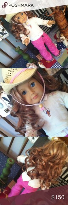 American girl She is beautiful her outfit is fantastic.  Like new she is.  Well loved.  Ready for your little horse lover!! american girl doll and clothes Accessories