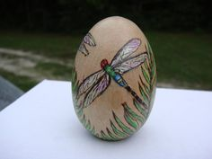 dragonfly woodburning on wood egg pyrography by ADragonflysFancy, $15.00