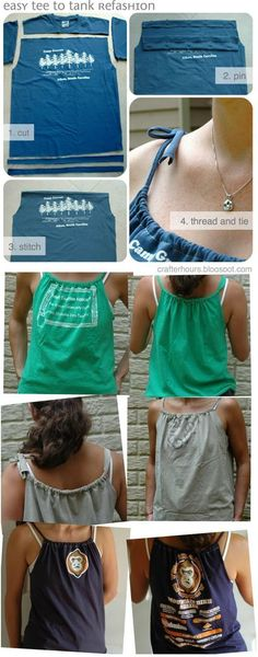 Diy shirt 399905641900680122 - Refashion Old T-shirt To Tank Top – DIY Source by joannafabian Diy Kleidung, Diy Vetement, Old Shirts, Diy Shirt, Diy Tank, Tshirt Tank Top, T Shirt Redo, T Shirt Crafts, T Shirt Dress Diy