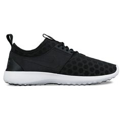 Nike Lace Up Sneakers - Women's Lotus ($85) ❤ liked on Polyvore featuring shoes, sneakers, nike, black, black trainers, black shoes, honey comb, nike footwear and mesh sneakers