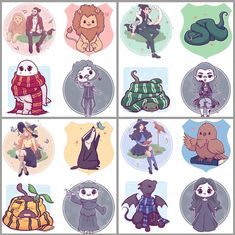 The 4 by Naomi Lord - Harry Potter - Animals Fanart Harry Potter, Harry Potter Tumblr, Images Harry Potter, Harry Potter Stickers, Harry Potter Cartoon, Cute Harry Potter, Mundo Harry Potter, Harry Potter Artwork, Harry Potter Drawings