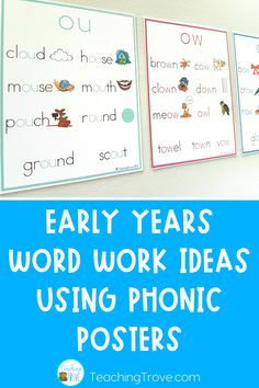 Make phonics posters more than just a classroom display! These word work activities and phonics posters make a great, easy prep literacy station. Perfect for your kindergarten of first grade students, they fit right in with daily five activities.   #phonics  #literacycenters #phonicsposters #wordworkactivities
