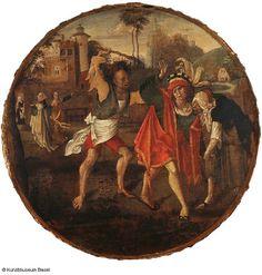 Niederländischer Meister, 16. Jh. Der verlorene Sohn wird aus dem Freudenhaus vertrieben, um 1520    The Prodigal Son Being Thrown out of the Brothel