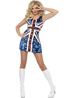 Union Jack Sparkling All That Glitters Rule Britannia Dress. Celebrate They Royal Wedding In Style With This Gorgeous Red White And Blue Union Jack Glitter Dress. Star Costume, Queen Costume, Costume Dress, 90s Costume, Funny Costumes, Easy Costumes, Dance Costume, Spice Girls Costumes, Costumes For Women