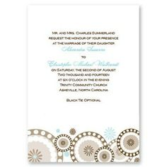 Circles and Flowers Wedding Invitations - Retro brown circles highlighted in your choice of colors decorate the bottom of these single panel White invitations.