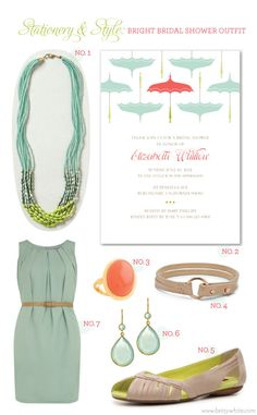 "Stationery & Style: Bright Bridal Shower Outfit (featuring our ""Umbrellas"" bridal shower invitation)"