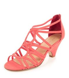 Coral Strappy Cut Out Low Heel Open Toe Sandals
