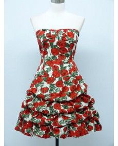 ROBE COCKTAIL PIN UP MOTIFS ROSES ROUGES