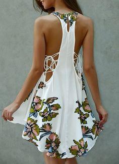 Vestidos Algodón Lino Floral Hasta las rodillas Sin mangas