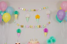 Ice Cream Party!  Mint, Yellow, Pink, Purple and Blue. Party in a box, one purchase, quick set up and all of a sudden, you have a 'PartyMade' that is Pinterest worthy! Ice Cream Tubs, Ice Cream Party, Party In A Box, For Your Party, 1st Birthday Banners, Birthday Parties, Blue Party, Gold Dots, Paper Goods