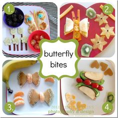 4 different ways to make a butterfly with different foods to spice up lunch times