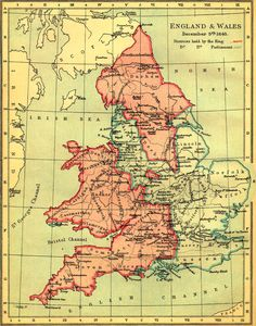 Map of England and Wales during the English Civil War, 1643 #map #uk #england #wales
