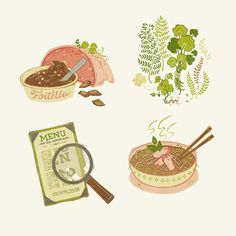 Teagan White -  PORTLAND FOOD, illustrations of unusual foods in portland restaurants.