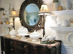 Display and Store - Budget-Friendly Dining Room Updates on HGTV Like the monograms on the lamp shades.