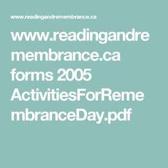 www.readingandremembrance.ca forms 2005 ActivitiesForRemembranceDay.pdf Pdf