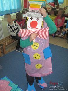 Κλόουν μεγάλοι, κλόουν μικροί, κλόουν αγαπητοί Clown Crafts, School Carnival, Crafts For Kids, Hearts, Costumes, Carnavals, Crafts For Children, Kids Arts And Crafts, Kid Crafts