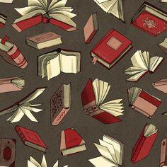 Libros, libros, muchos libros (ilustración de Elizabeth Baddeley)