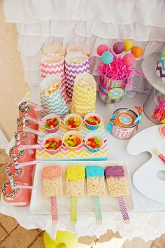 Rainbow + Chevron Arts and Crafts Party // Hostess with the Mostess® Art Birthday, Rainbow Birthday, 2nd Birthday Parties, Birthday Ideas, Chevron Birthday, 21st Party, Sofia Party, Birthday Games, Sleepover Party
