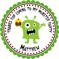 Monster Mash Party.  Personalized stickers by partyINK.